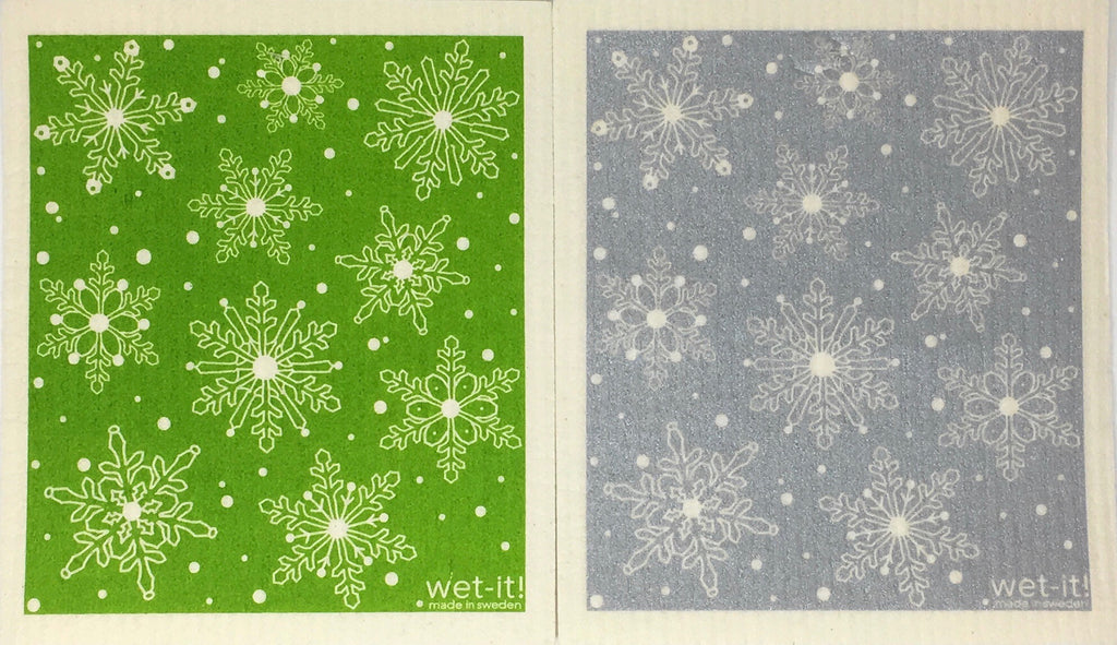 Swedish Treasures Wet-it! Dishcloth & Cleaning Cloth - 2 pack - Winter Snow Green / Winter Snow Silver
