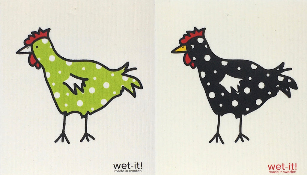 Swedish Treasures Wet-it! Dishcloth & Cleaning Cloth - 2 pack - Chickens - Spotted Green & Spotted Black