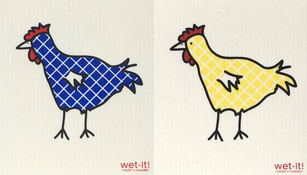 Swedish Treasures Wet-it! Dishcloth & Cleaning Cloth - 2 pack - Chickens - Blue Plaid & Yellow Plaid