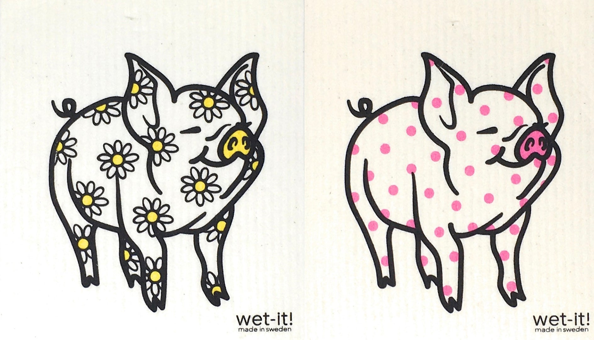 Swedish Treasures Wet-it! Dishcloth & Cleaning Cloth - 2 pack - Daisy Pig & Polka Pig