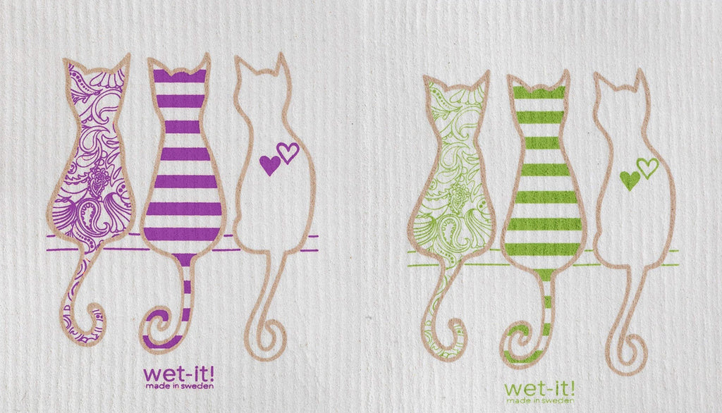 Swedish Treasures Wet-it! Dishcloth & Cleaning Cloth - 2 pack - Cat Lover Purple & Cat Lover Green