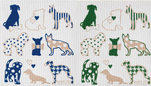 Swedish Treasures Wet-it! Dishcloth & Cleaning Cloth - 2 pack - Dog Lover Blue & Dog Lover Green