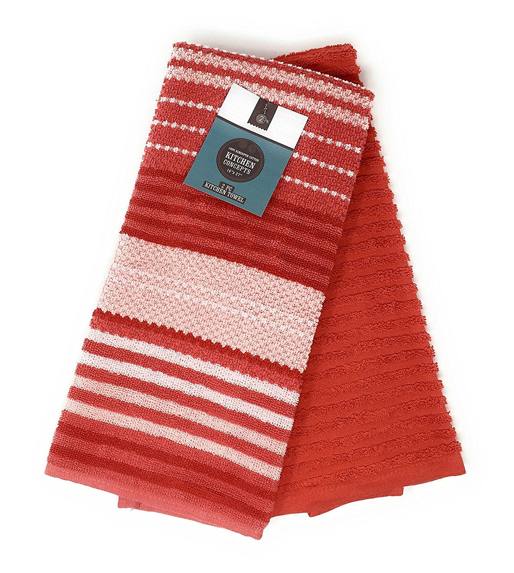 Kitchen Concepts Contempo 2 Piece Kitchen Towel Set (Red, 1)