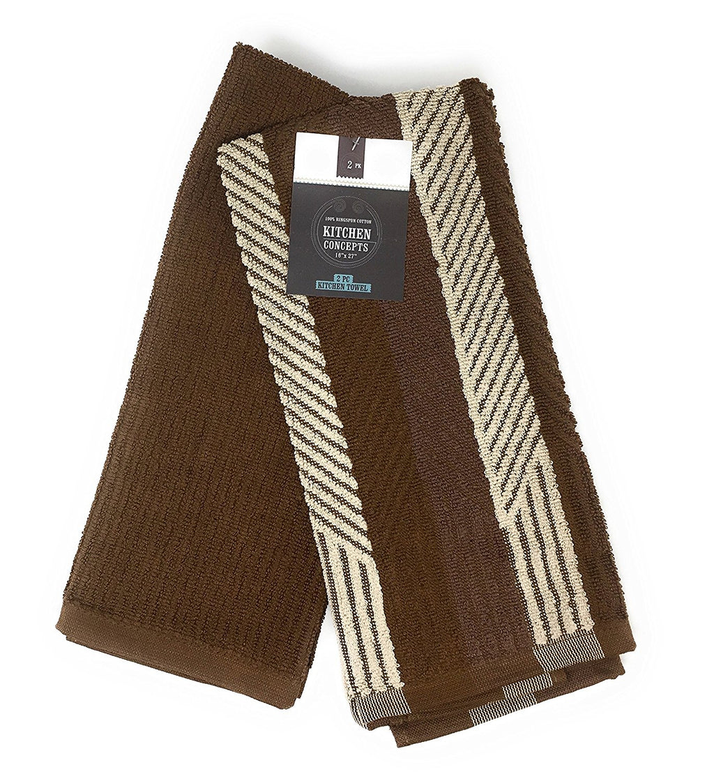 Kitchen Concepts 2 Piece Piano Kitchen Towels Set (Brown, 1 Set)