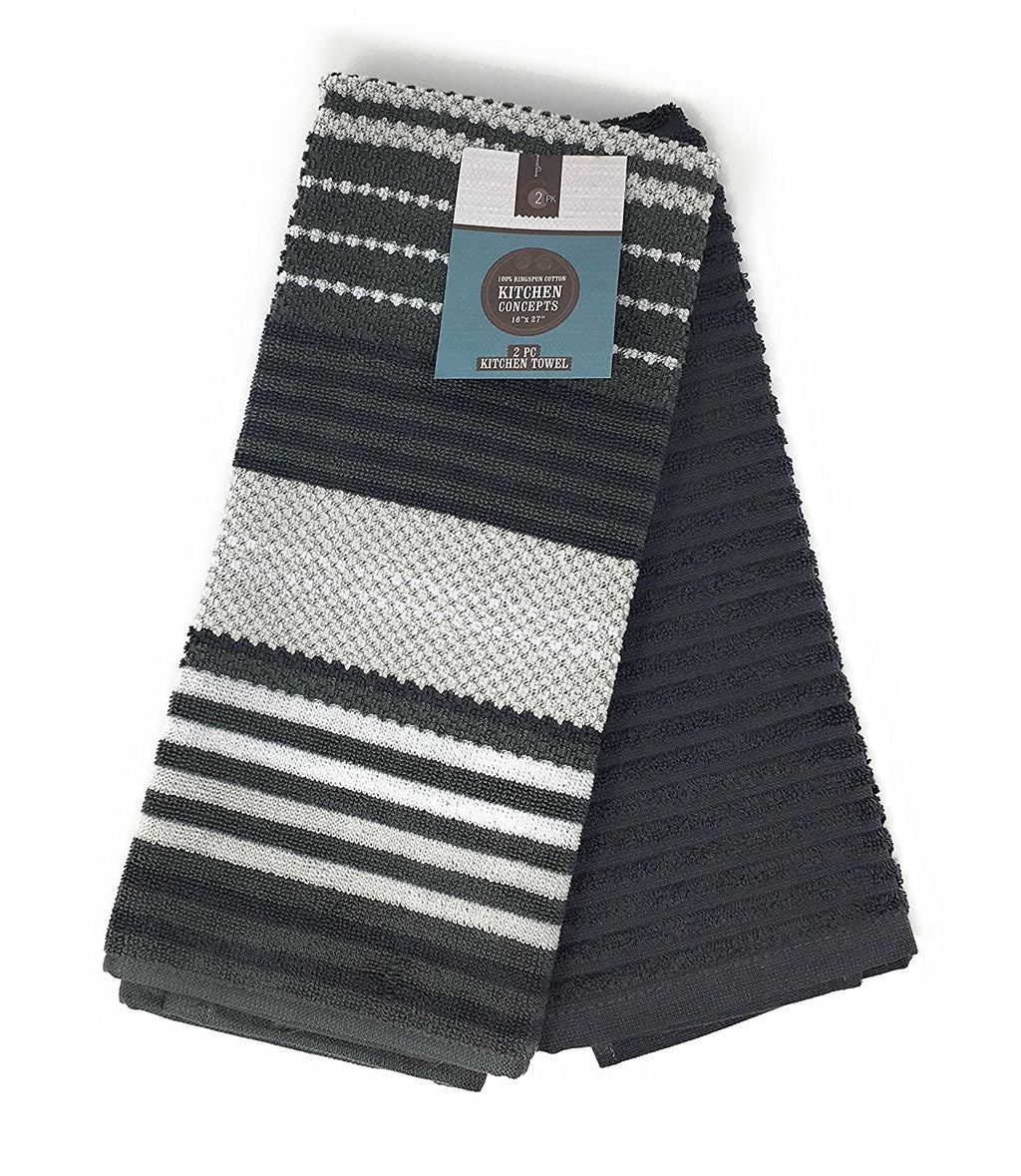 Kitchen Concepts Contempo 2 Piece Kitchen Towel Set (Dark Grey, 1 Set)