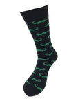 Men's Novelty Crew Socks - Alligators - Black & Green