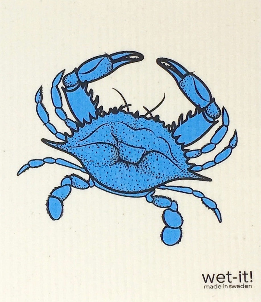 Swedish Treasures Wet-it! Dishcloth & Cleaning Cloth - Blue Crab