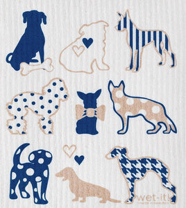 Swedish Treasures Wet-it! Dishcloth & Cleaning Cloth - Dog Lover Blue