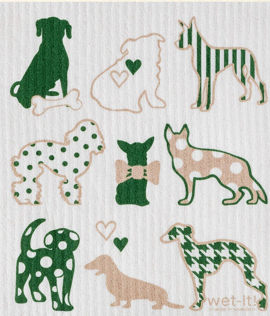 Swedish Treasures Wet-it! Dishcloth & Cleaning Cloth - Dog Lover Green