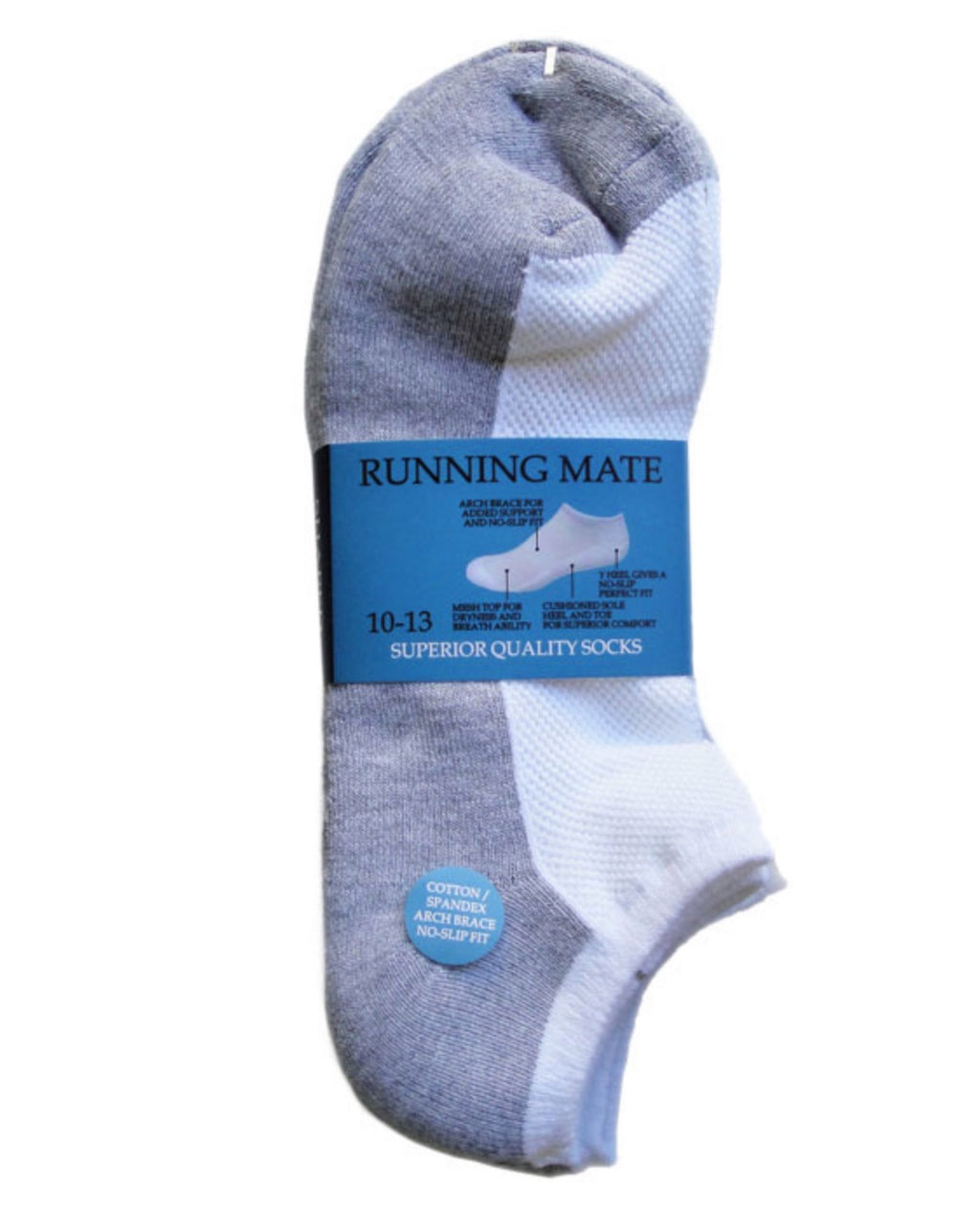 Running Mate Men's Athletic Low-Cut Socks - Sock Size 10-13 - Multi Pair Packages - (White/Grey, 3 Pair)