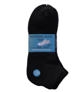 Running Mate Men's Athletic Quarter Socks - Size 10-13 - Black, 3 Pair