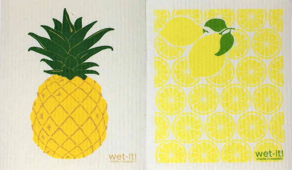 Swedish Treasures Wet-it! Dishcloth & Cleaning Cloth - 2 packs - Lemon & Pineapple