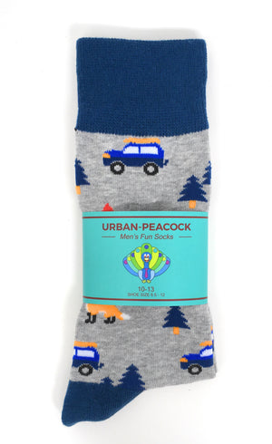 Urban-Peacock Men's Novelty Crew Socks - Camping - Grey with Blue