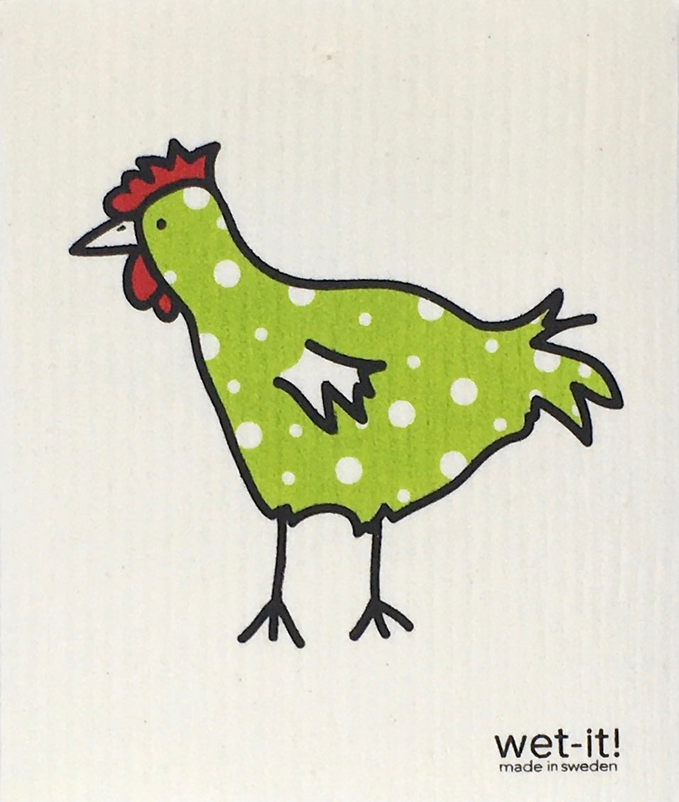 Swedish Treasures Wet-it! Dishcloth & Cleaning Cloth  -  Chicken - Spotted Green