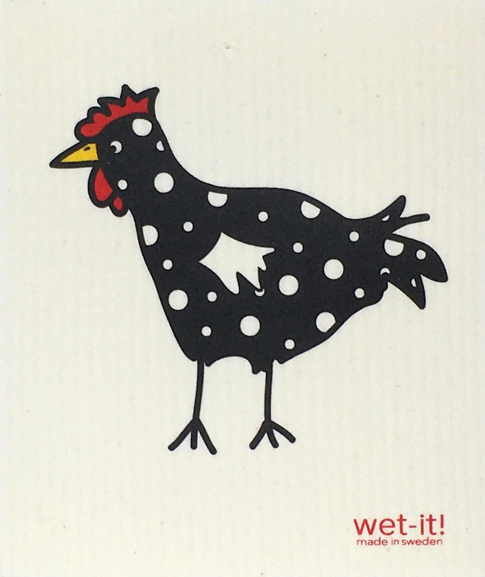 Swedish Treasures Wet-it! Dishcloth & Cleaning Cloth  -  Chicken - Spotted Black