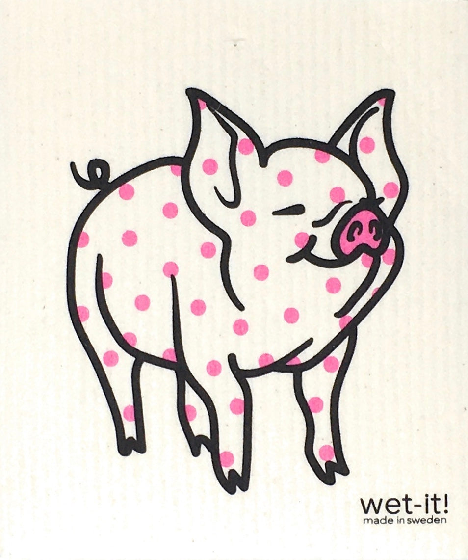 Swedish Treasures Wet-it! Dishcloth & Cleaning Cloth - 2 pack - Lovely Pig & Polka Pig
