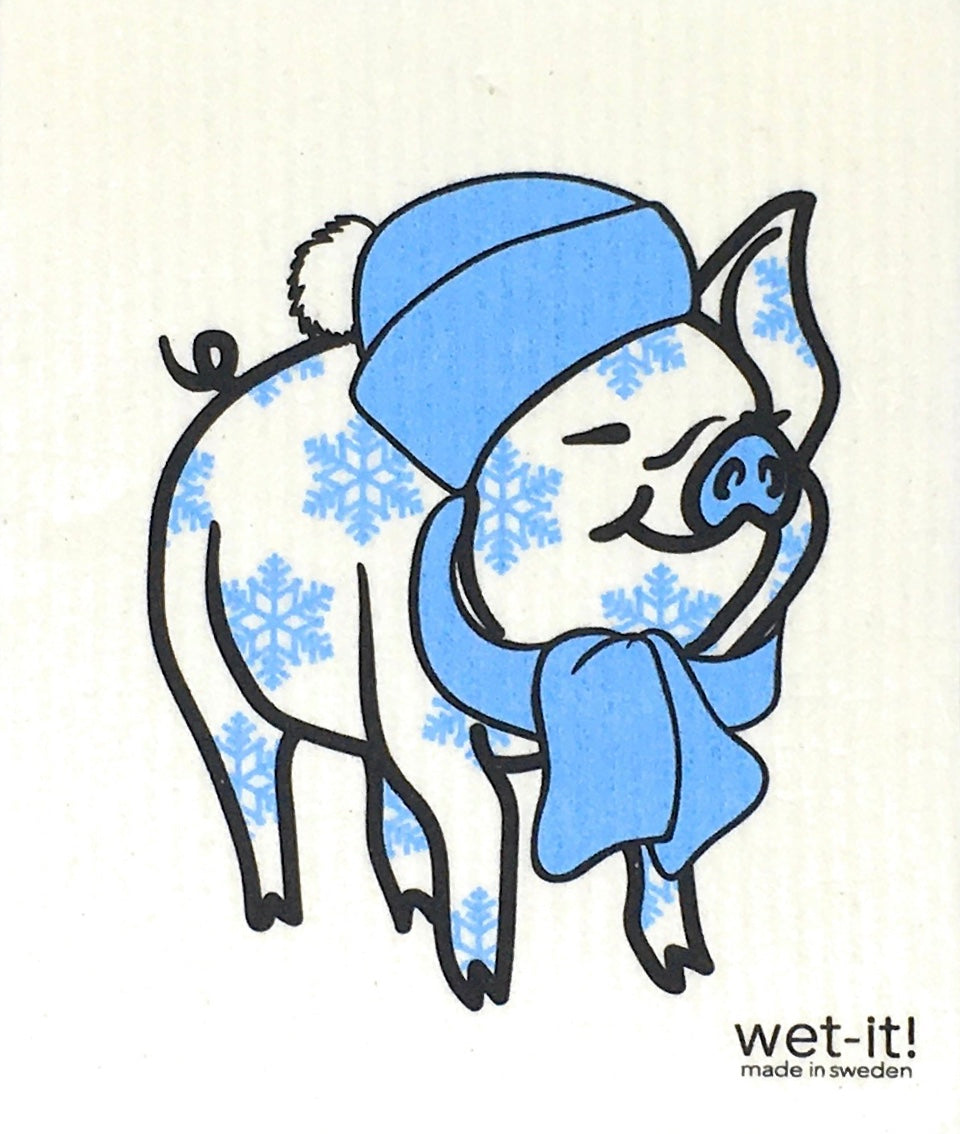 Swedish Treasures Wet-it! Dishcloth & Cleaning Cloth - Winter Pig