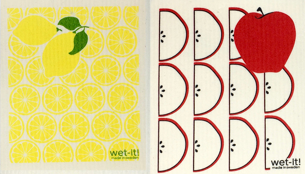 Swedish Treasures Wet-it! Dishcloth & Cleaning Cloth - 2 packs - Lemon & Apple