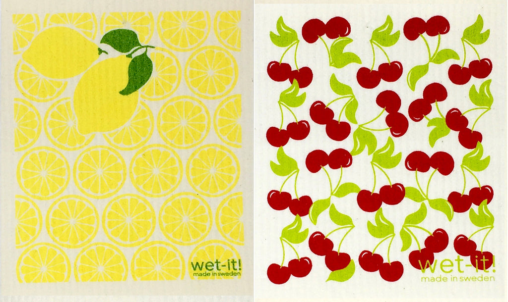 Swedish Treasures Wet-it! Dishcloth & Cleaning Cloth - 2 pack - Lemon & Cherry