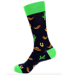 Urban-Peacock Men's Novelty Crew Socks - Cowboy Cactus -  Navy