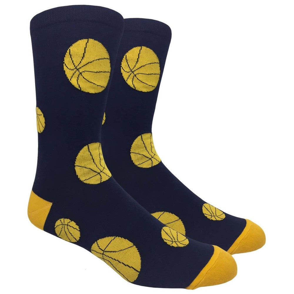 Men's Novelty Crew Socks - Basketball - Navy with Gold