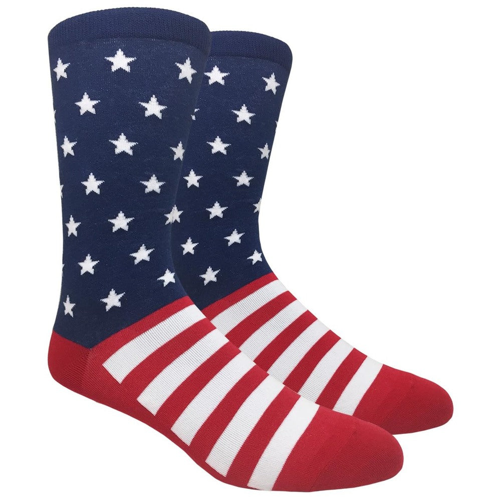 Men's Novelty Fun Crew Socks - The Patriot - Stars and Stripes