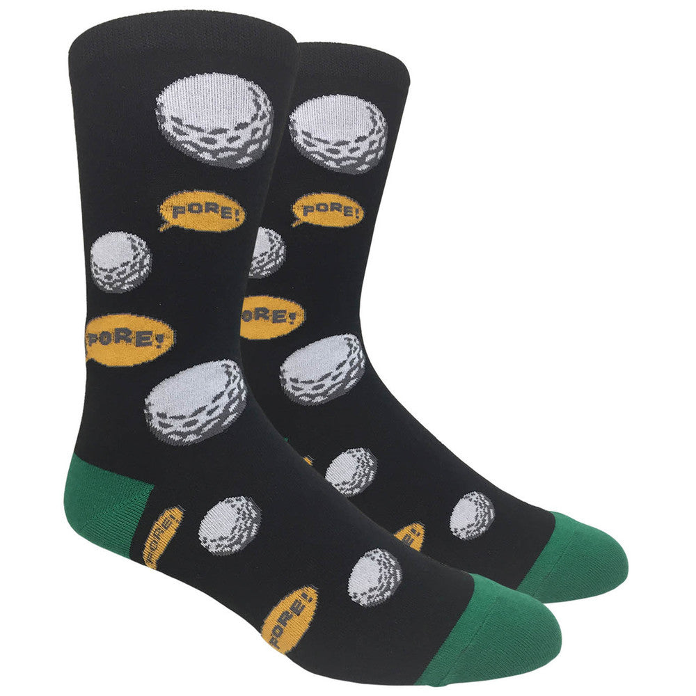 Men's Novelty Crew Socks - Golf Fore! - Black