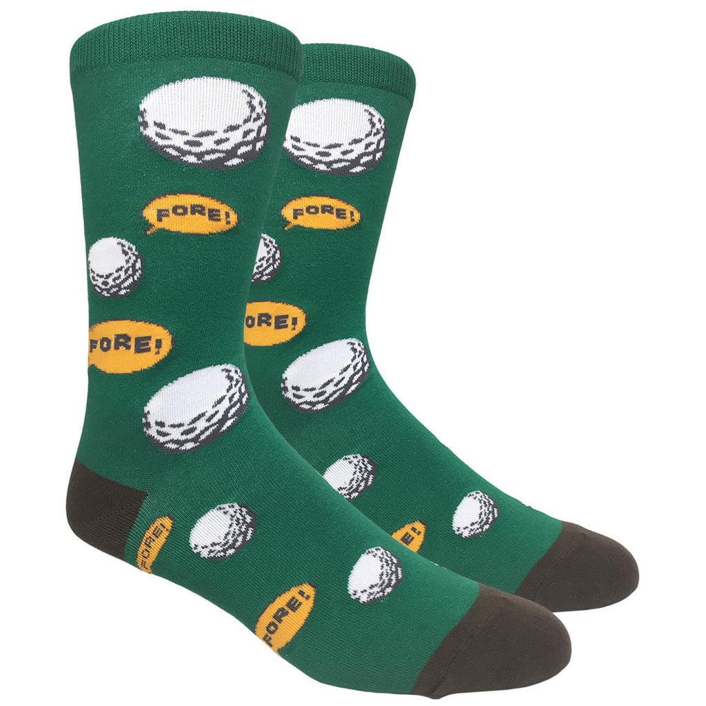 Men's Novelty Crew Socks - Golf Fore! - Green