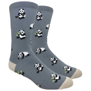 Men's Novelty Crew Socks - Pandas - Dark Grey