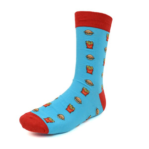 Men's Novelty Crew Socks - Hamburgers - Light Blue with Red