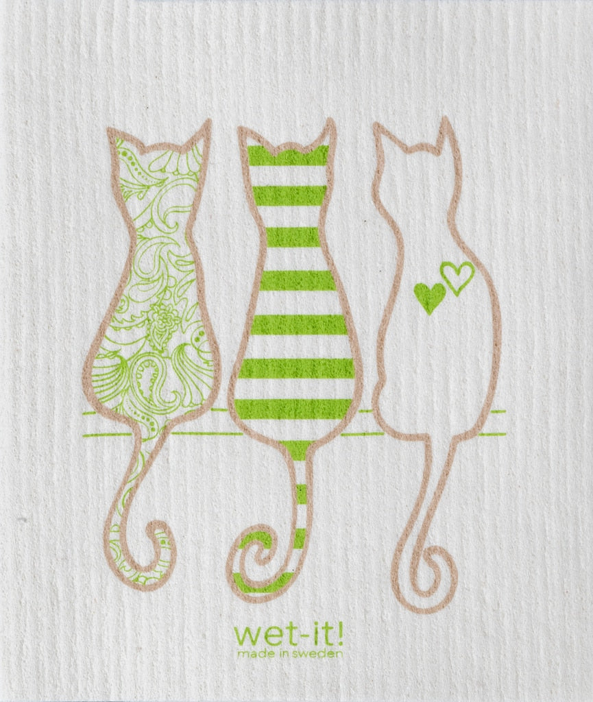 Swedish Treasures Wet-it! Dishcloth & Cleaning Cloth - Cat Lover Green