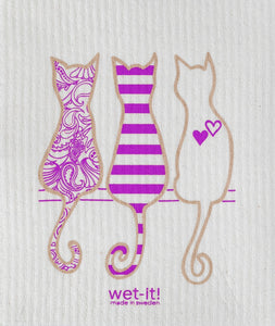 Swedish Treasures Wet-it! Dishcloth & Cleaning Cloth - Cat Lover Purple
