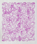 Swedish Treasures Wet-it! Dishcloth and Cleaning Cloth - Paisley Series - Purple