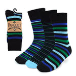 Parquet Men's Fancy, Dress, Casual and Crew Fun Socks - 3 Pair Bundle (Stripes - Black, Blues & Greens)