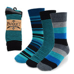 Parquet Men's Fancy, Dress, Casual and Crew Fun Socks - 3 Pair Bundle in Stripes - Greens & Blues