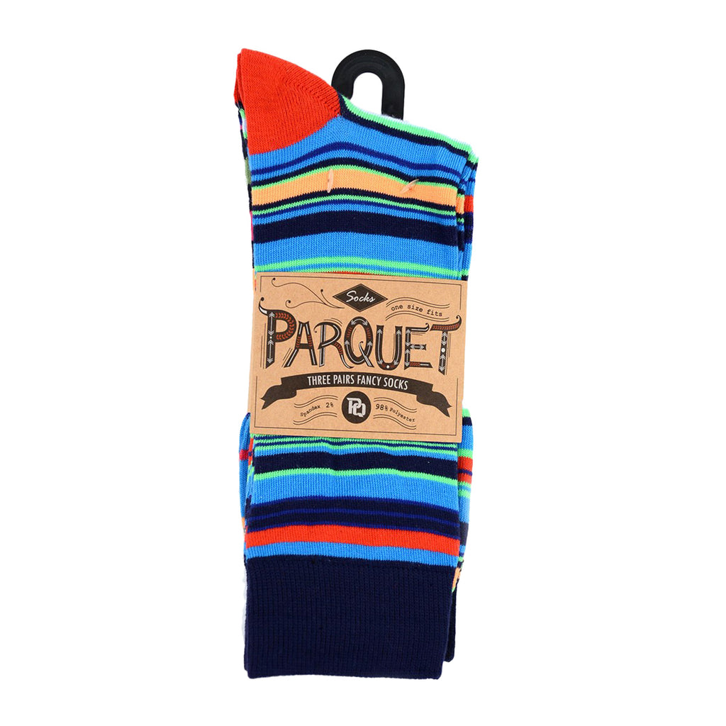 Parquet Men's Fancy, Dress, Casual and Crew Fun Socks - 3 Pair Bundle (Stripes - Bright Multicolor)