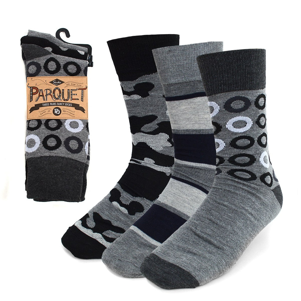 Parquet Men's Fancy, Dress, Casual and Crew Fun Socks - 3 Pair Bundle in Abstract Greys