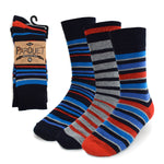 Parquet Men's Fancy, Dress, Casual and Crew Fun Socks - 3 Pair Bundle (Stripes - Navy, Red, Blue and Grey)