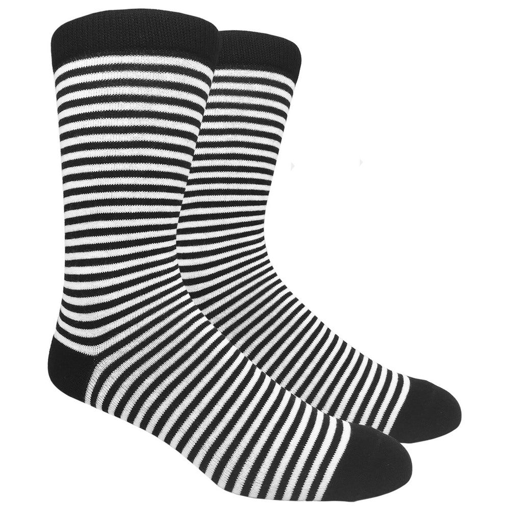 Black Label Men's Dress Socks - Thin Black Stripe