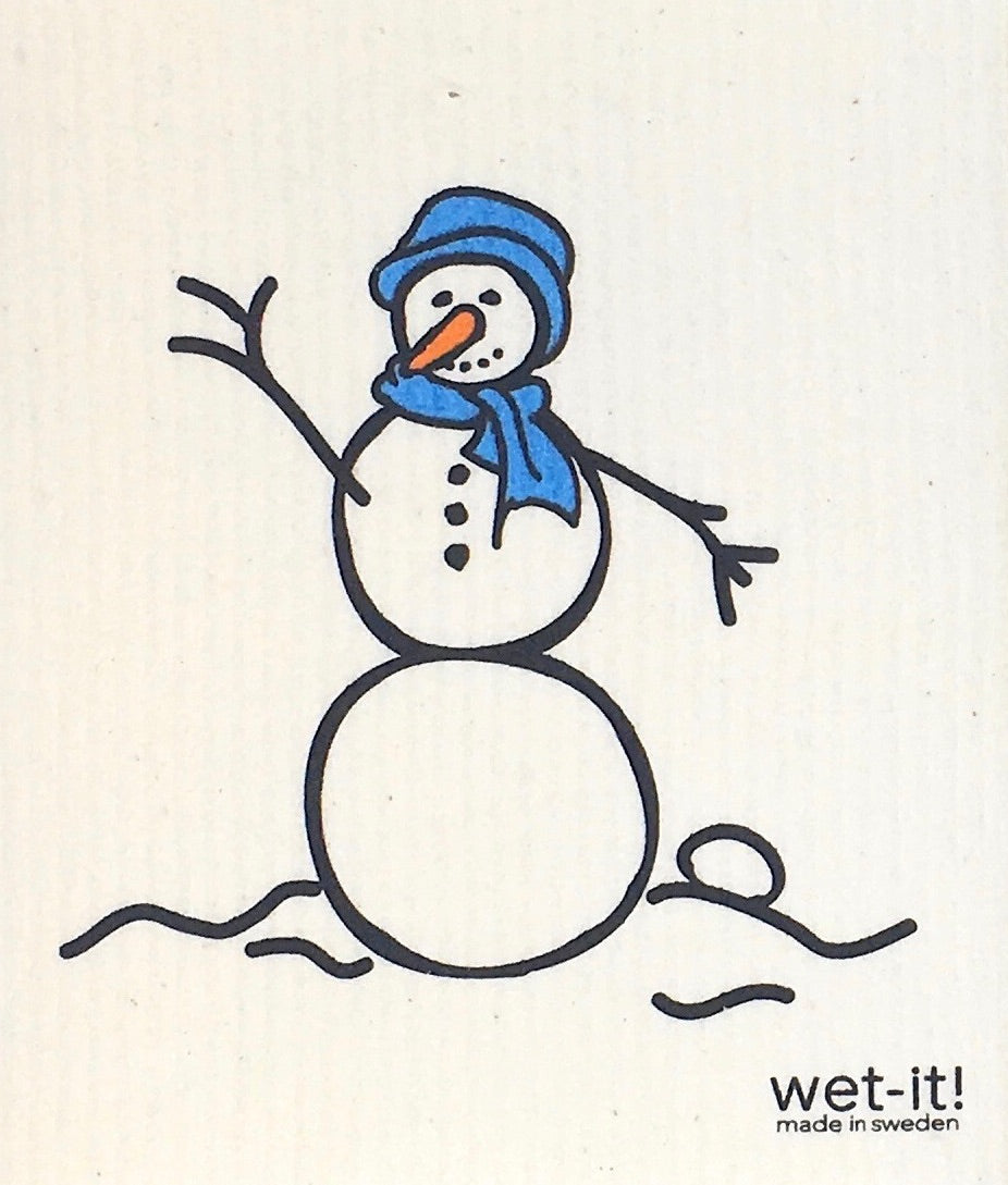 Swedish Treasures Wet-it! Dishcloth & Cleaning Cloth - Snowman Blue