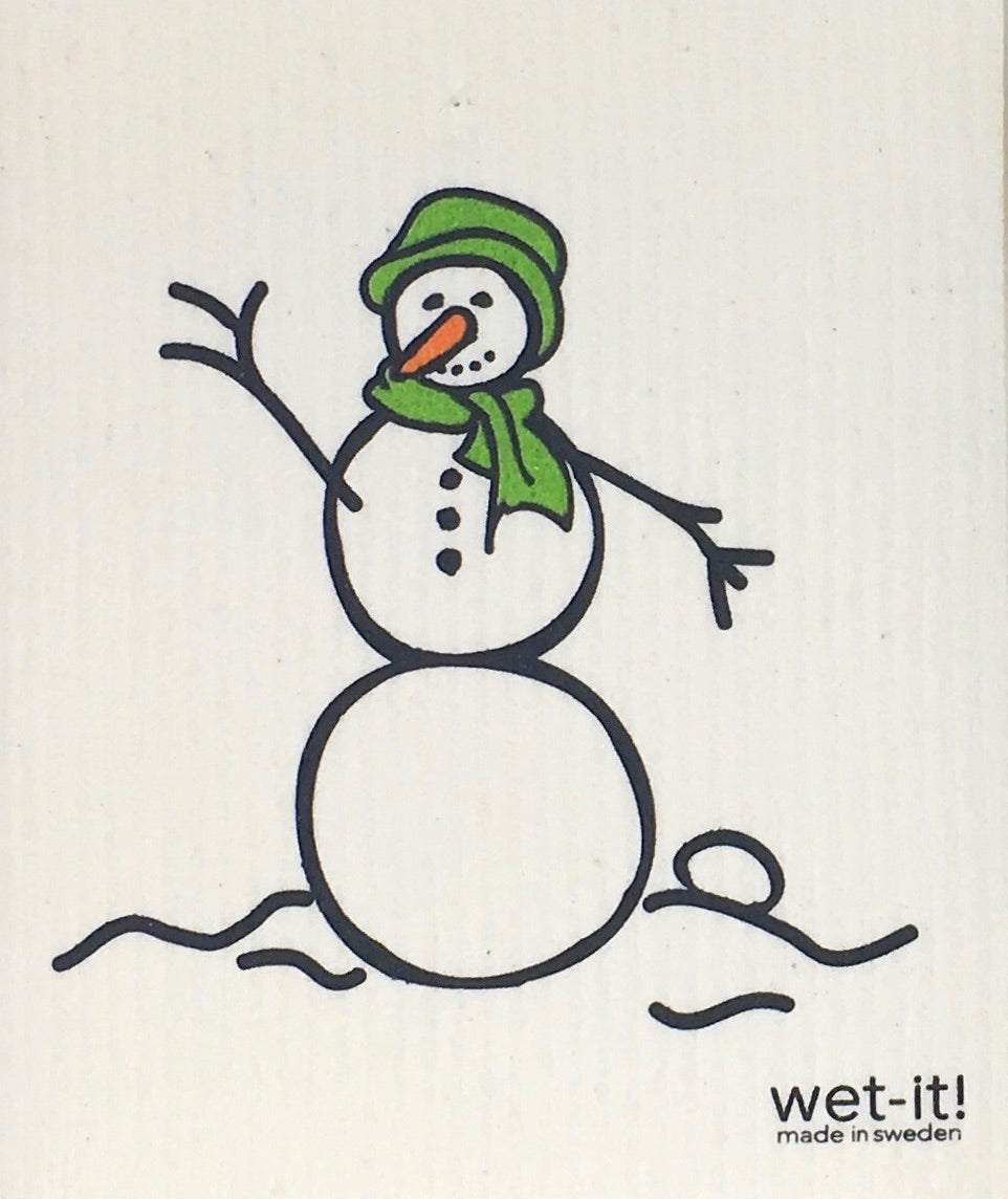 Swedish Treasures Wet-it! Dishcloth & Cleaning Cloth - Snowman Green