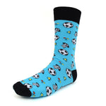 Men's Novelty Crew Socks - Soccer - Blue