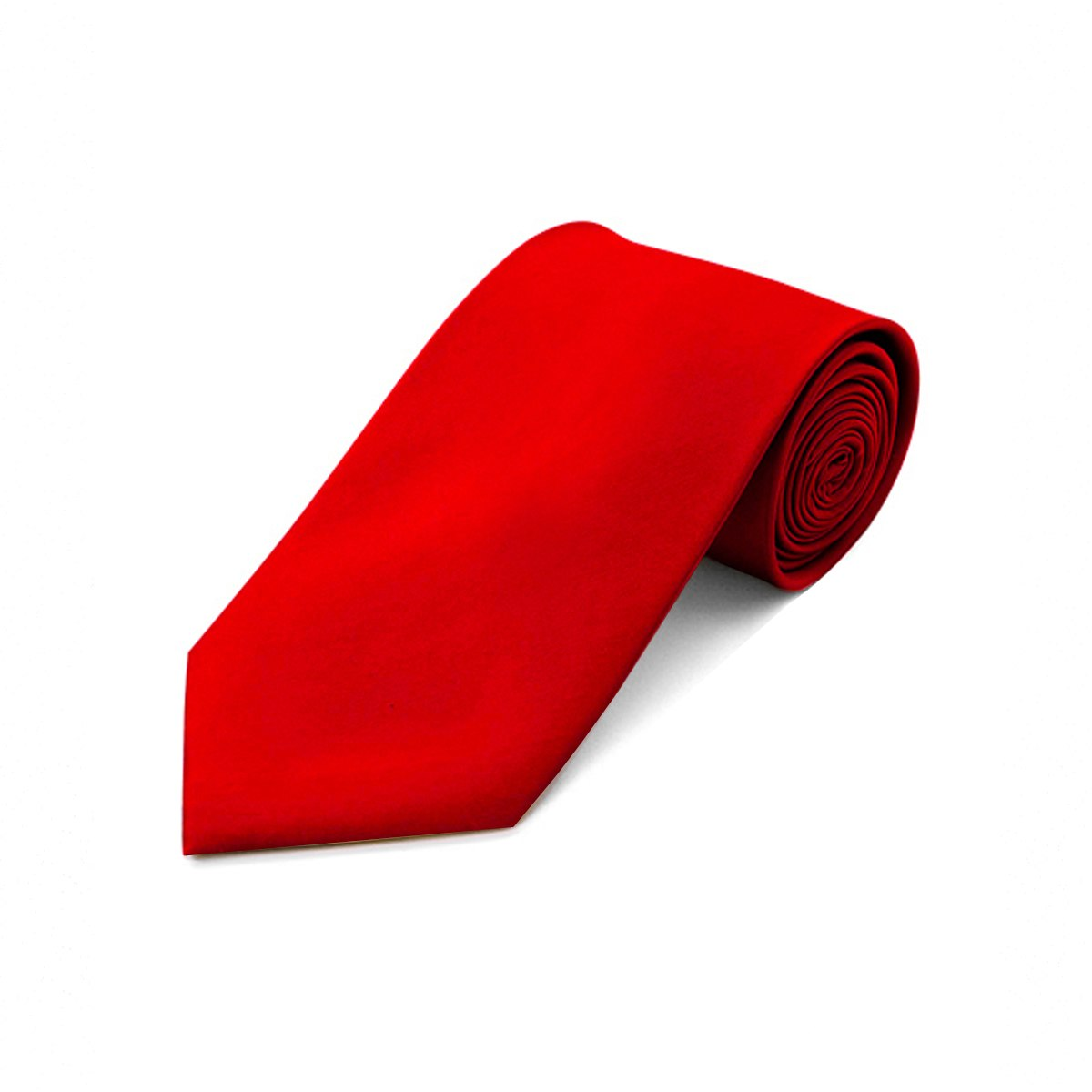 Umo Lorenzo Men's Poly Satin Solid Fashion Neckties with Gift Box (Red)