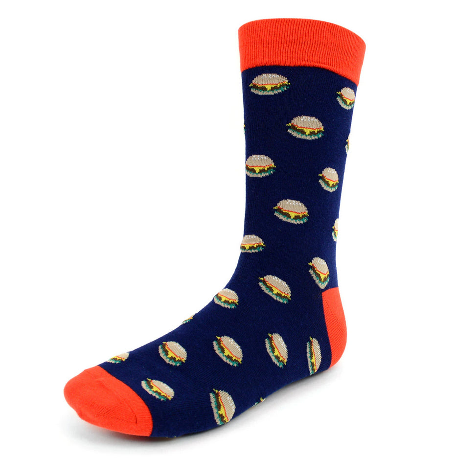 Men's Novelty Crew Socks - Cheeseburgers - Navy With Red