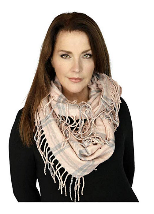 Memories Women's Plaid Infinity Fashion Scarf - Pink & Grey
