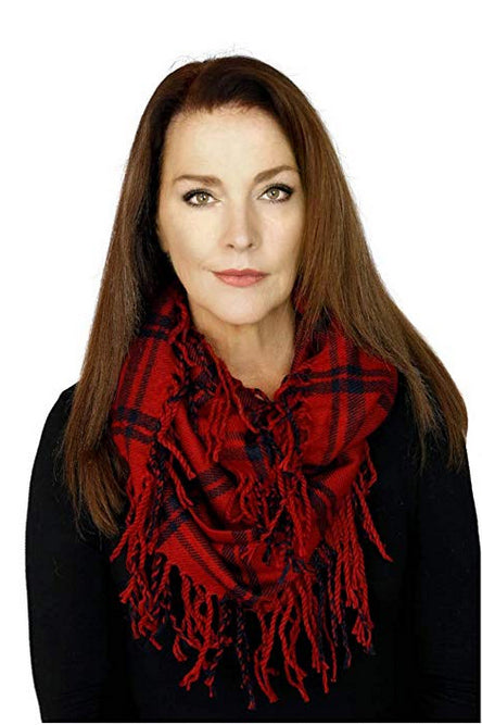 Memories Women's Plaid Infinity Fashion Scarf - Red & Navy