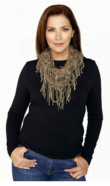 Memories Lightweight Mini Infinity Loop Fashion Tube Collar Scarf - Taupe & Brown