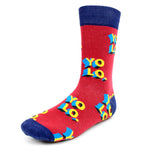 Men's Novelty Crew Socks - YOLO - You Only Live Once - Red