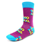 Men's Novelty Crew Socks - YOLO - You Only Live Once - Purple