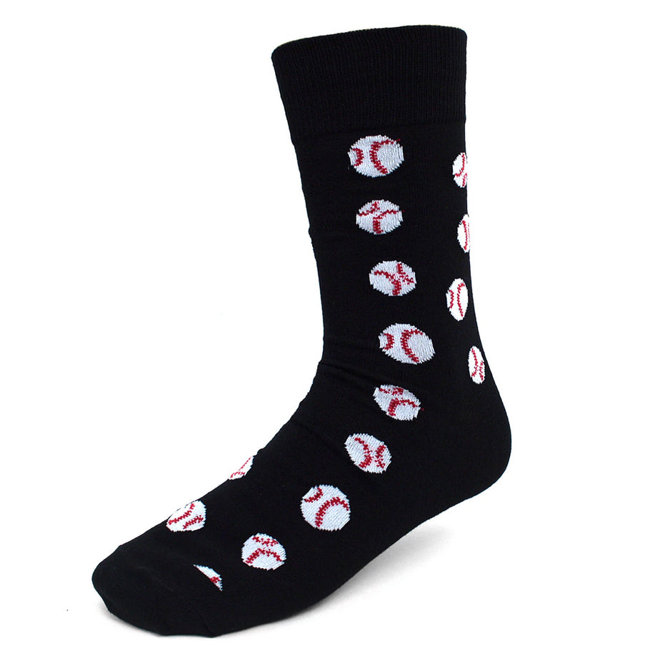 Urban-Peacock Men's Novelty Crew Socks - Baseballs Black